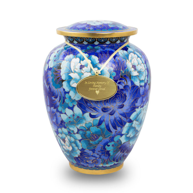 Large Cloisonne Blue Cremation Urn