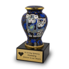 Cloisonne Cat Urn - Blue