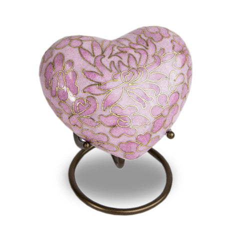 Cloisonne Rose Cremation Keepsake Heart