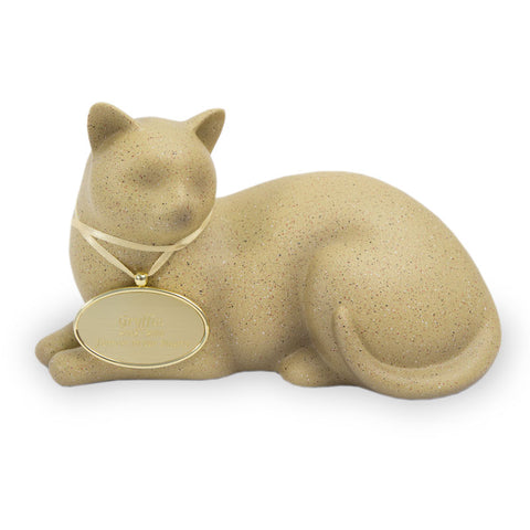 Cozy Cat Cremation Urn - Fawn