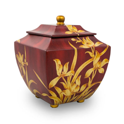 Burgundy Orchid Cremation Urn - Large