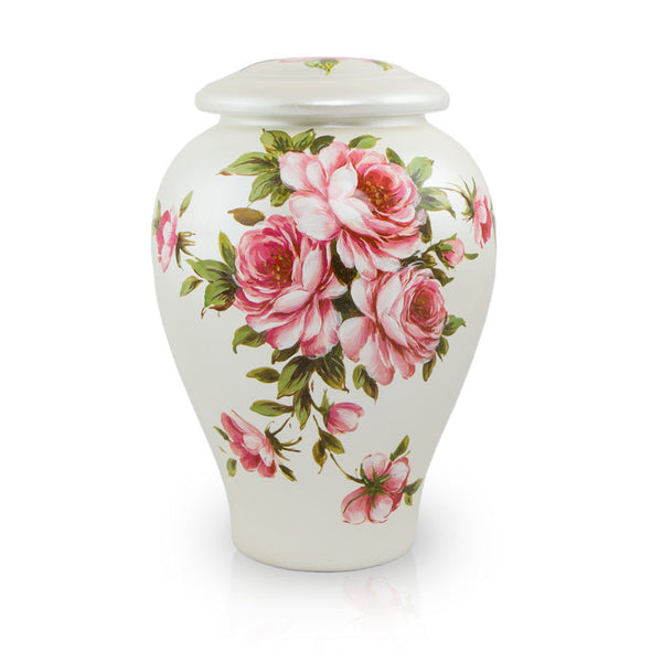 Rose Bouquet Hand Painted Ceramic Cremation Urn Large