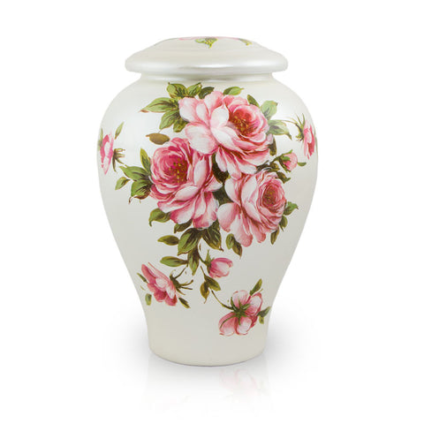 Rose Bouquet Hand Painted Ceramic Cremation Urn - Large