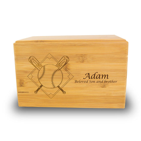 Baseball Cremation Urn - Bamboo Box