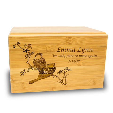 Spring Birds Cremation Urn - Bamboo Box