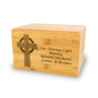 Celtic Cross Bamboo Cremation Urn