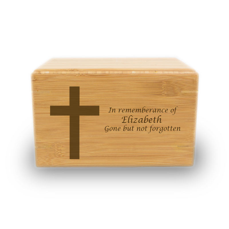 Christian Cross Cremation Urn - Bamboo Box