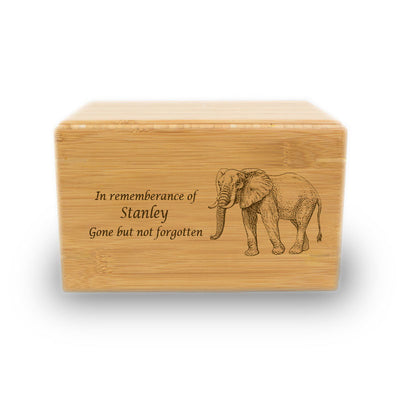 Proud Elephant Cremation Urn - Bamboo Box