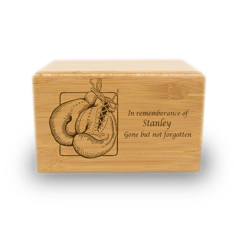 Boxing Gloves Cremation Urn - Bamboo Box