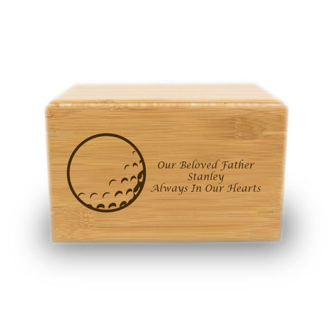 Golf Ball Cremation Urn - Bamboo Box
