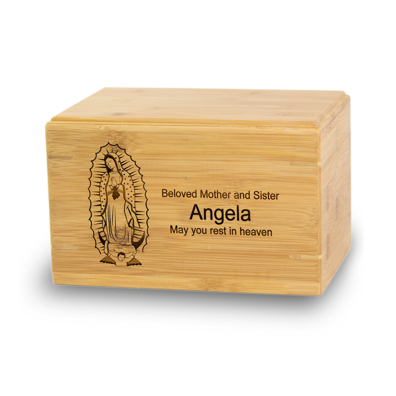 Our Lady of Guadalupe Bamboo Cremation Urn