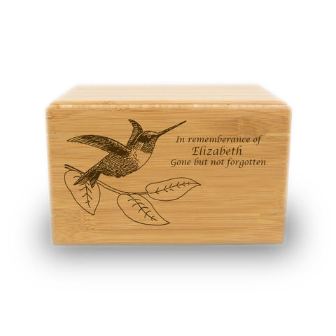 Hummingbird Bamboo Box Cremation Urn