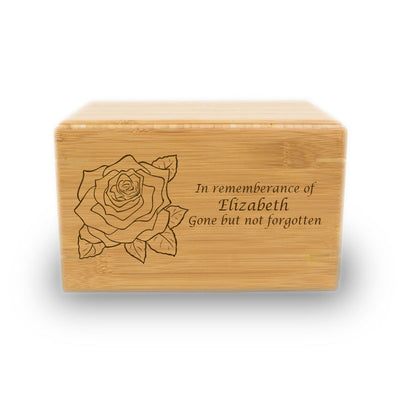 Gentle Rose Cremation Urn - Bamboo Box