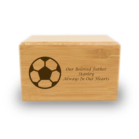 Soccer Ball Cremation Urn - Bamboo Box