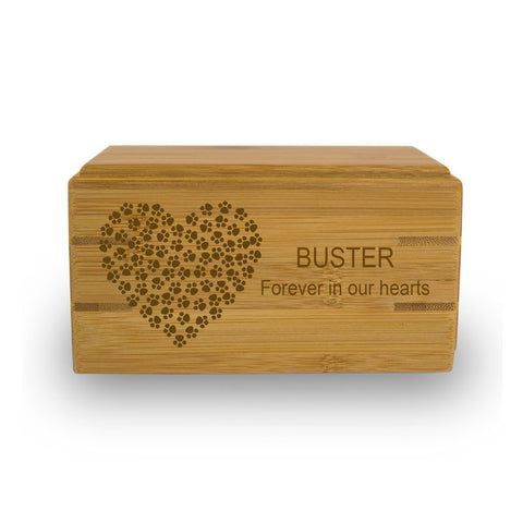 Paw Prints On My Heart Bamboo Box
