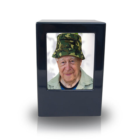 Somerset Navy Blue Photo Cremation Urn Box