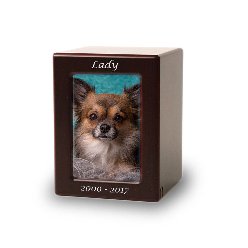 Cherry MDF Pet Photo Cremation Urn - Extra Small