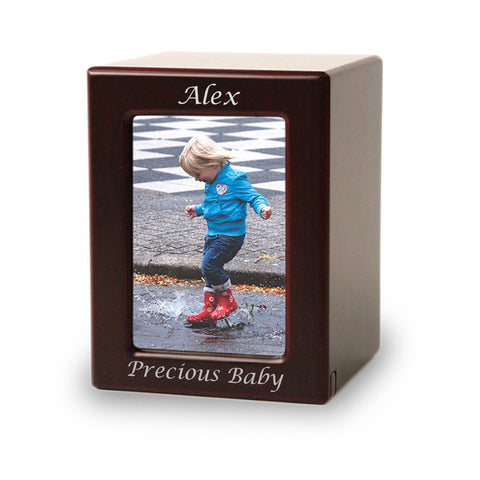 Child Cremation Photo Urn - Cherry MDF