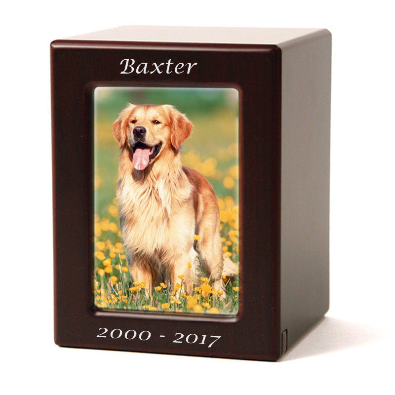 Cherry MDF Pet Photo Cremation Urn - Medium