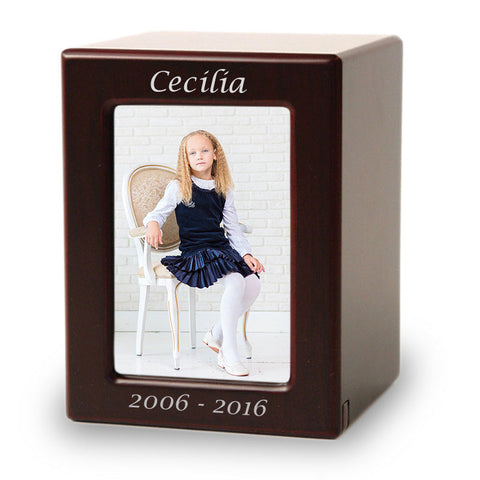 Large Child Cremation Photo Urn - Cherry MDF