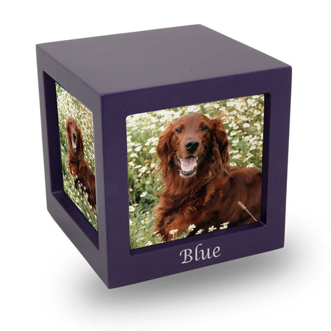 Violet Photo Cube Cremation Urn - Medium