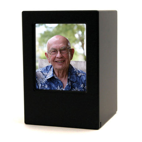 Photo Cremation Urn - Black