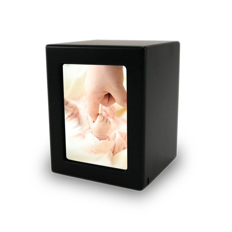 Infant Cremation Photo Urn - Black MDF