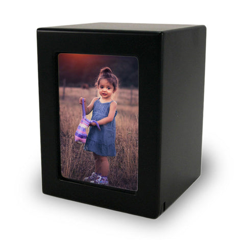 Child Cremation Photo Urn - Black MDF