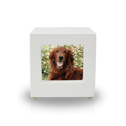 Somerset White Photo Cube Cremation Keepsake