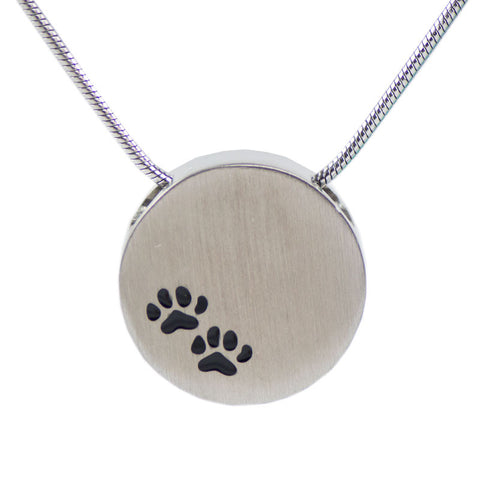 Paw Prints Cremation Necklace - Pewter