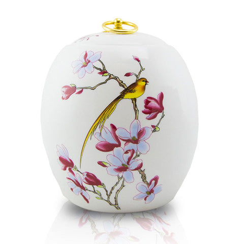 Golden Bird Ceramic Urn - Adult