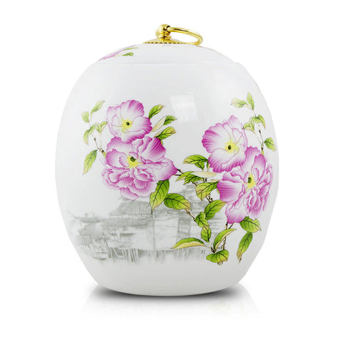 Peonies Pet Ceramic Cremation Urn - Large