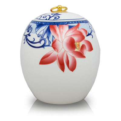 Red Lotus Ceramic Cremation Urn - Large