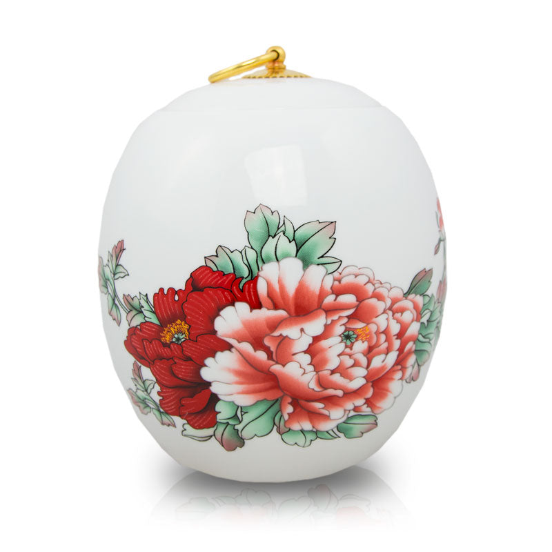 Red Peony Ceramic Cremation Urn - Large