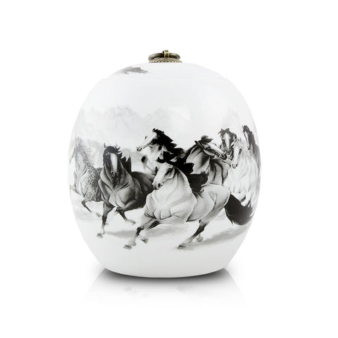 Medium Ceramic Cremation Urn with Eight Horses