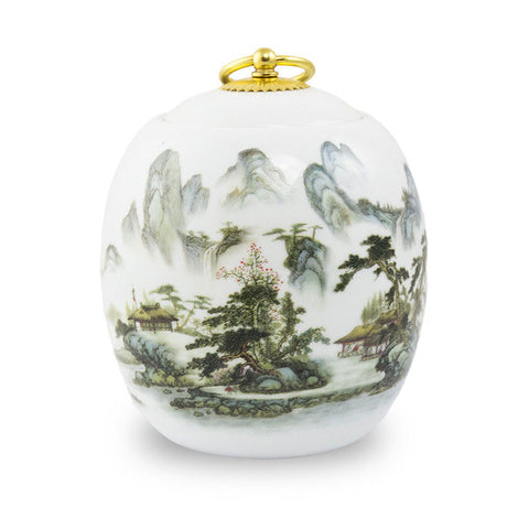 Medium Pet Ceramic Cremation Urn - Misty Mountains
