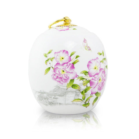 Medium Pet Ceramic Cremation Urn - Peonies