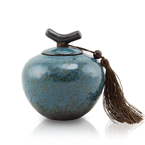 Medium Ceramic Pet Urn - Turquoise