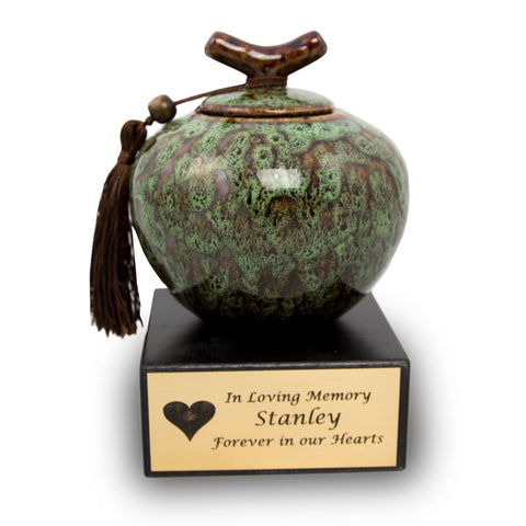 Medium Moss Green Ceramic Urn