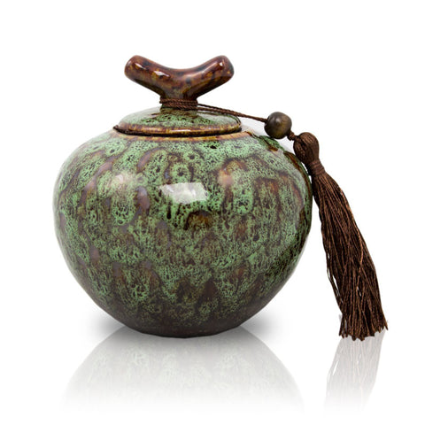 Small Moss Green Ceramic Cremation Urn