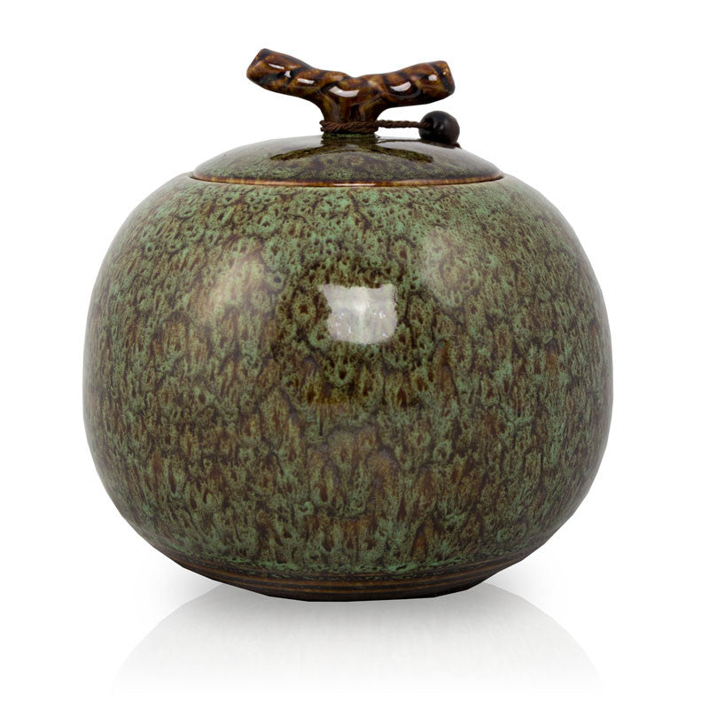 Moss Green Ceramic Cremation Urn - Large