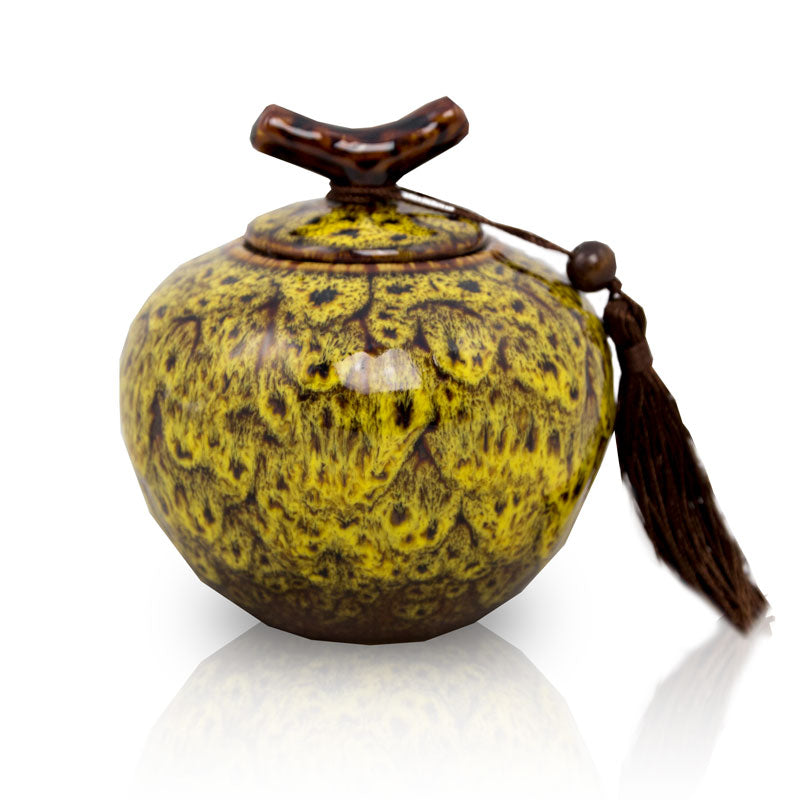 Autumn Yellow Ceramic Cremation Urn - Medium