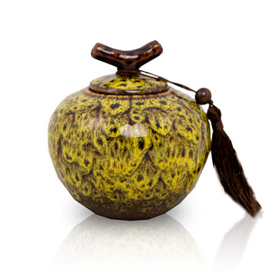 Autumn Yellow Ceramic Cremation Urn - Small