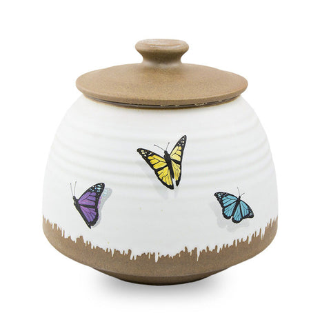 Ceramic Butterflies Cremation Urn - Medium