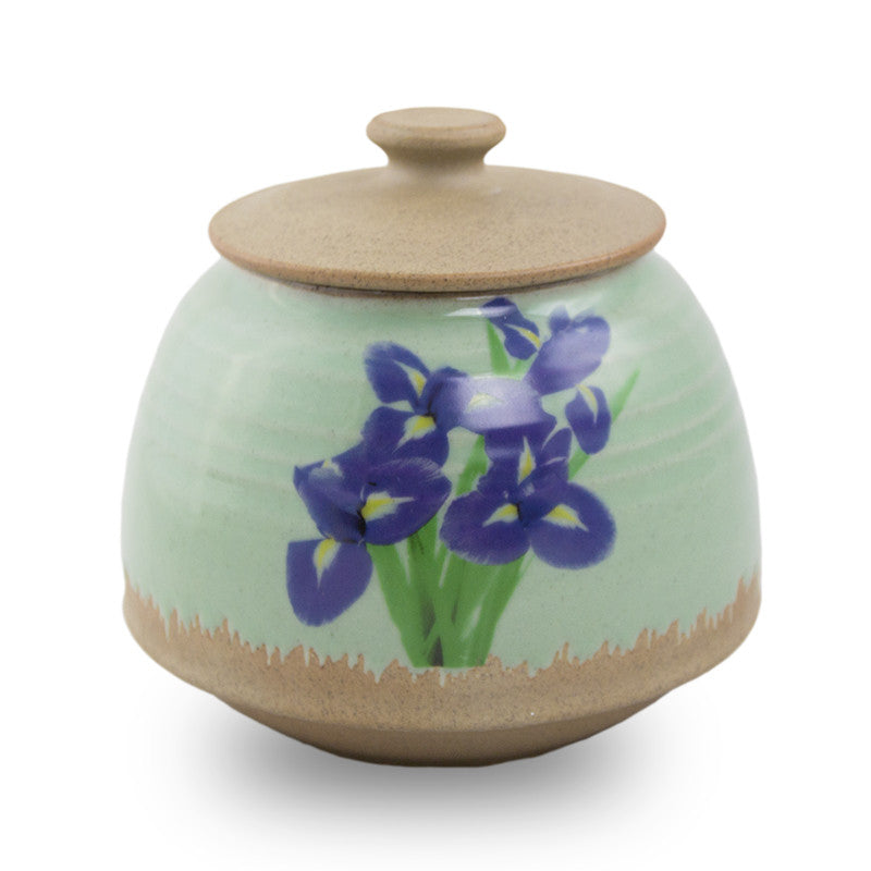 Small Ceramic Cremation Urn - Iris Bouquet