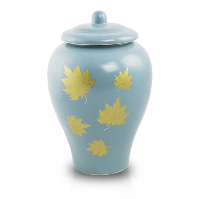 Classic Ceramic Cremation Urn - Golden Leaves