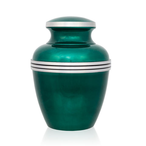 Dark Green Banded Cremation Urn - Medium