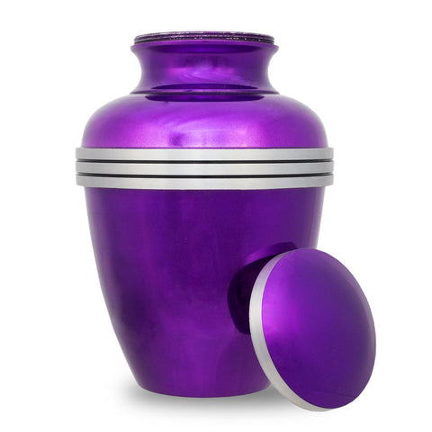 Dark Purple Banded Cremation Urn