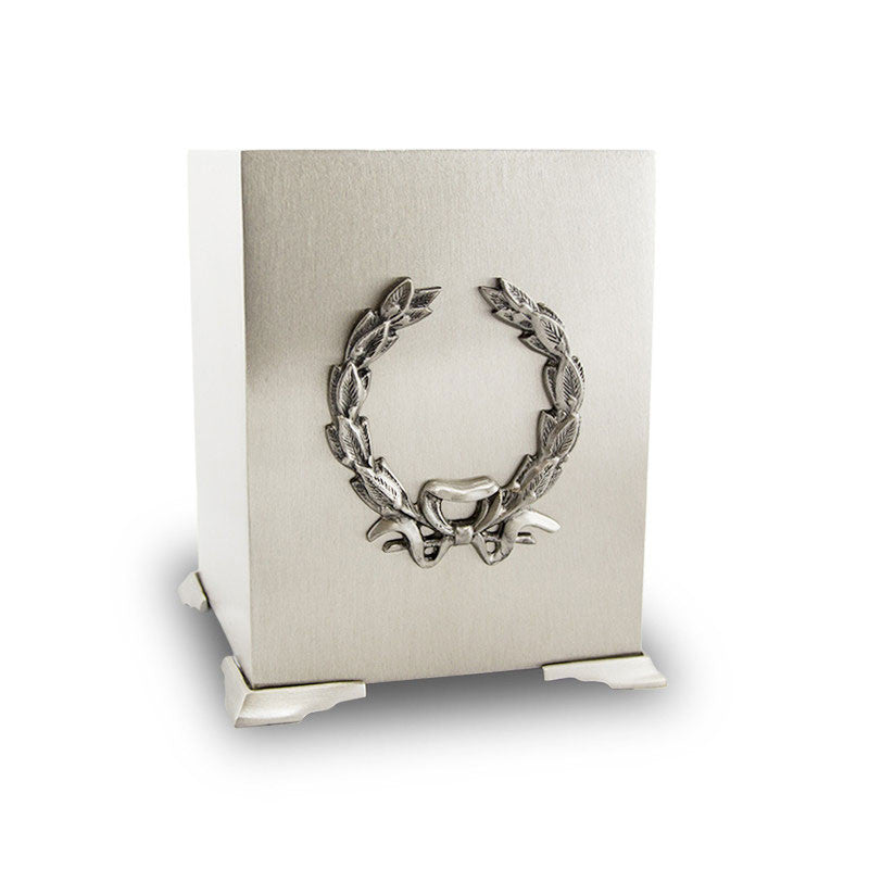 Pewter Wreath Cube Cremation Urn