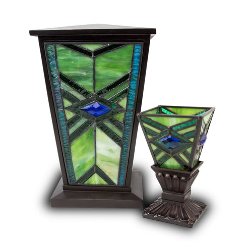 Emerald Mission Style Stained Glass Cremation Urn Set